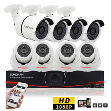 SunChan 8CH CCTV System 1080P AHD-H 8CH CCTV DVR 8PCS 2.0MP CCD Security Camera 1920*1080 CCTV Camera Surveillance System
