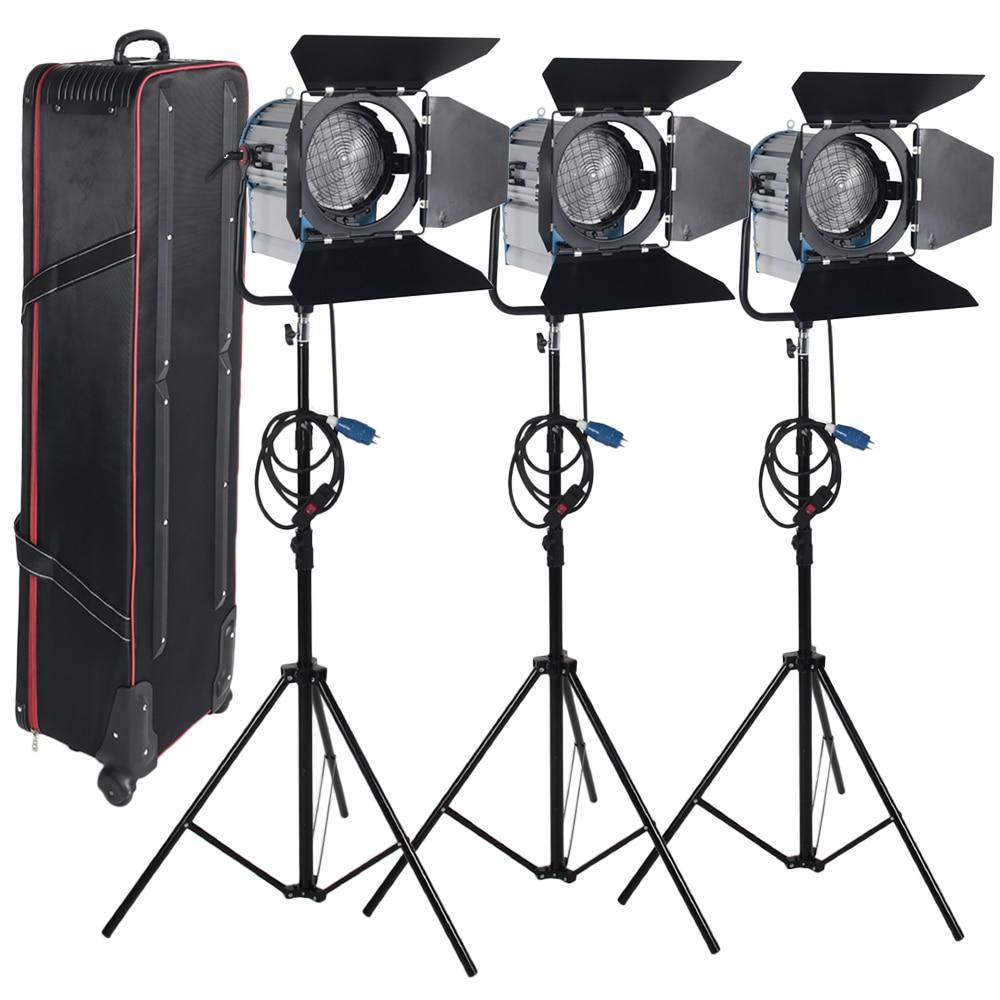 ASHANKS 3 X 2000W Fresnel Tungsten Spotlight Camara Fotografica Video Lighting for Photography Studio Lighting+Bulb+Barndoor ashanks small photography studio kit