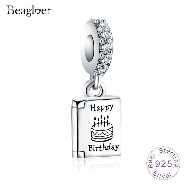 7f86505eb Beagloer 100% 925 Sterling Silver Happy Birthday Cake Wishes Book Pendant  Charms Beads fit Original Pandora Bracelet Jewelry