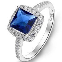 BELLA Fashion Royalblue Genuine 925 Sterling Silver Jewelry Square Bridal Ring With SGS Certification For Bride