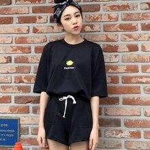 Summer Women Two Piece Set Cartoon Pattern Fashion O-Neck Top And Shorts Slim Sets
