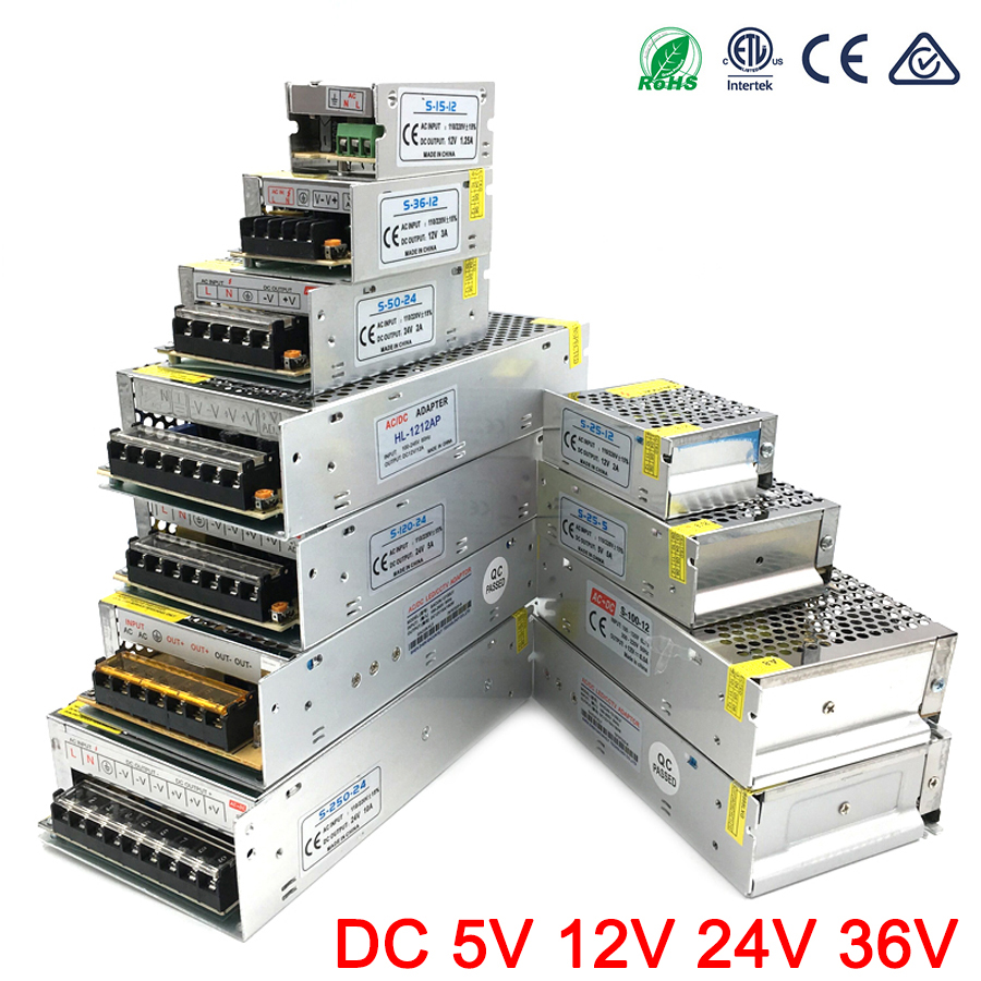 Power Adapter DC 5V 12V 24V 3A <font><b>5A</b></font> 10A 15A 20A 25A 30A lighting Transformers <font><b>5</b></font> 12 24 <font><b>V</b></font> Volt LED Driver Supply LED Strip Tape Lamp image