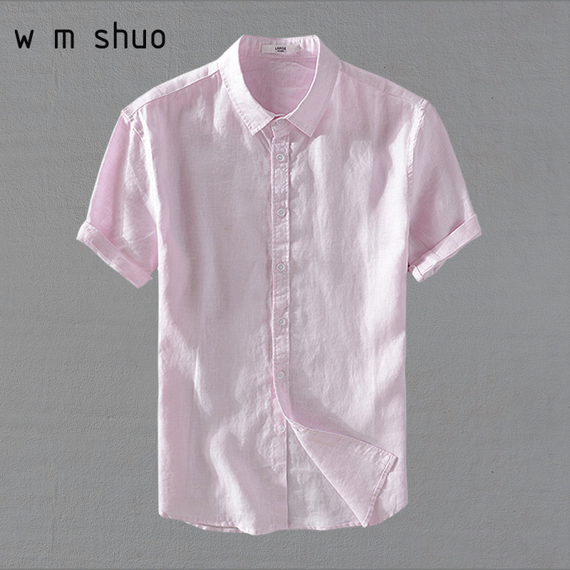 100% Leinen Männer Kurzarm Casual Shirts 2018 Sommer Solide Weiß Rosa Drehen-unten Kragen Hemd Y639