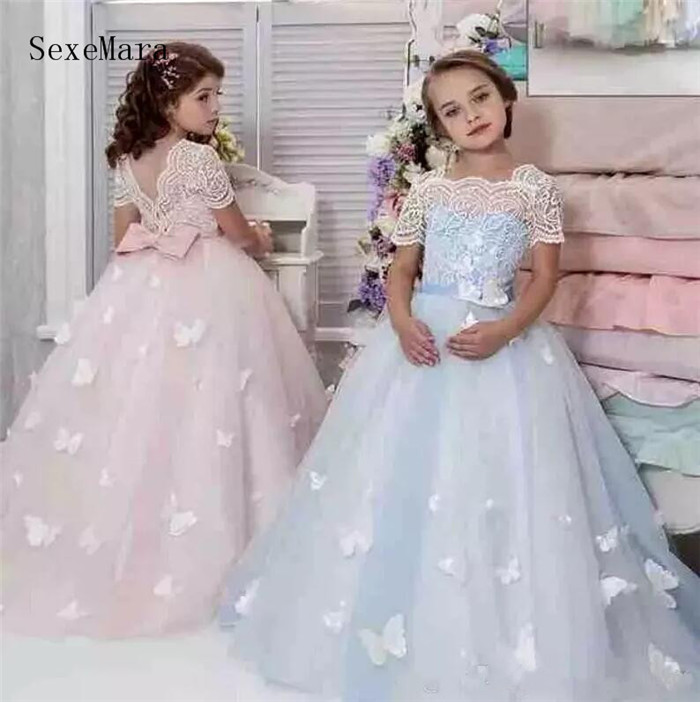 New Customized Flower Girls Dresses for Wedding Lace Appliques Bow Short Sleeve Girls Pageant Dresses Girls Birthday Party Dress perfect purple flowers big bow organza short sleeve slim lace crochet dress for women