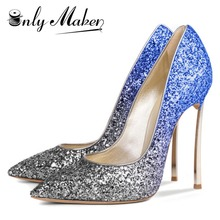 Onlymaker 2017 New Sexy Women's Shallow Pumps Shoes For Ladies Wedding 12CM Metal High Heel Pointed Toe Dress shoe Big Size US15