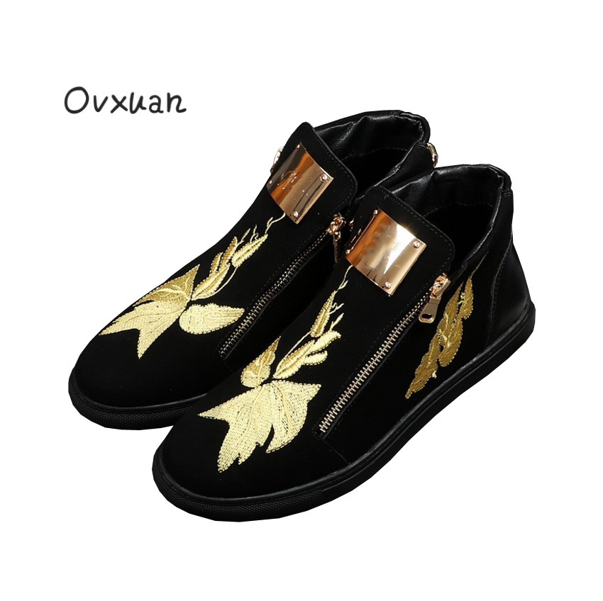 Фотография Ovxuan Gold Silk Embroidery Metal Slice Zip Shine Male Boots Leather High Casual Sneakers Loafers Party Men Dress Flats Shoes