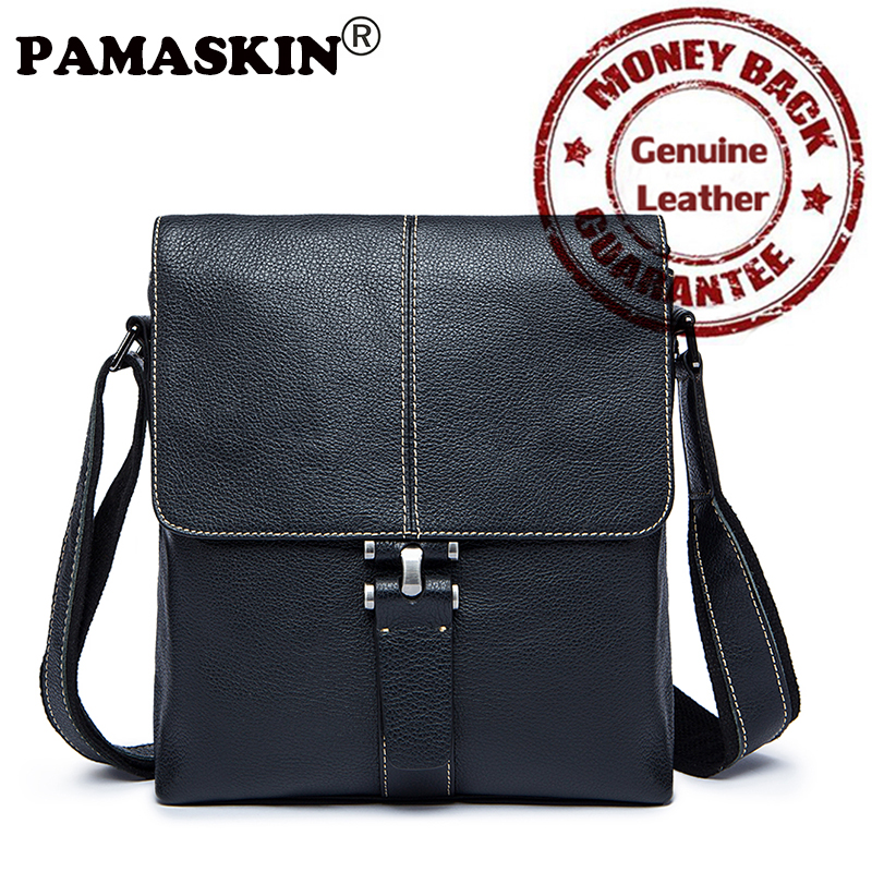 PAMASKIN 2017 New Arrivals Casual Retro Men Messenger Bags 100% Premium Genuine Leather Hot Cover Style Men Shoulder Ipaid  Bag