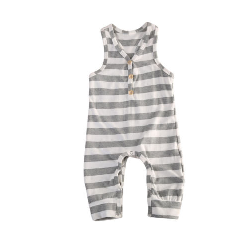 Baby Boys Girls Clothing One pieces Clothes Striped Casual Romper Sleeveless Striped Cute Jumpsuit Outfits Clothing 0-24M one pieces cute newborn infant baby girls sleeveless black floral romper outfits summer sunsuit clothes