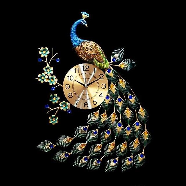 Pastoral Style Metal Elegant Peacock Flower Large Wall Clock Hotel Tea Room Art  Ornament Crafts Needle Mute Quartz Clocks Gifts
