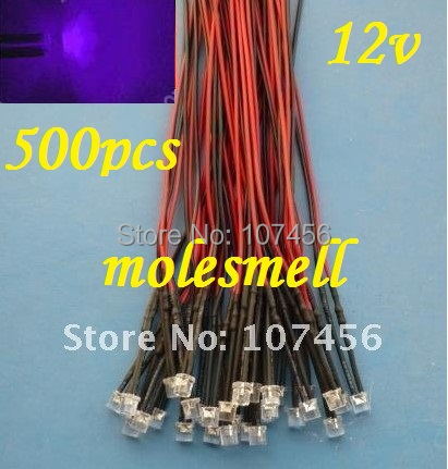 Free Shipping 500pcs 5mm Flat Top Purple LED Lamp Light Set Pre-Wired 5mm 12V DC Wired 5mm 12v Big/wide Angle Uv/purple Led