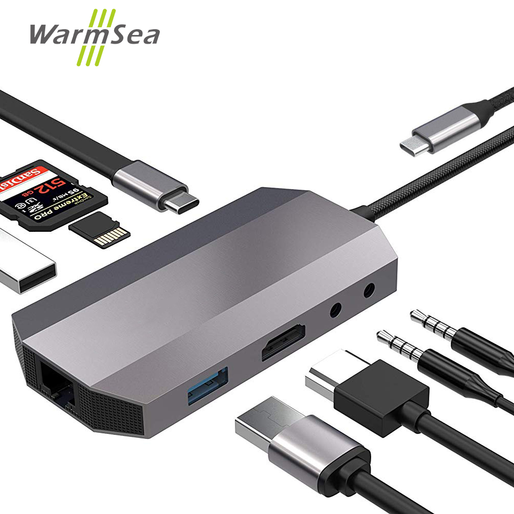 USB Type C HUB Audio Thunderbolt 3 Adapter with 4K HDMI RJ45 1000Mbps USB 3.0 Dex Station For Samsung Note 8 S8 S9 Macbook Pro