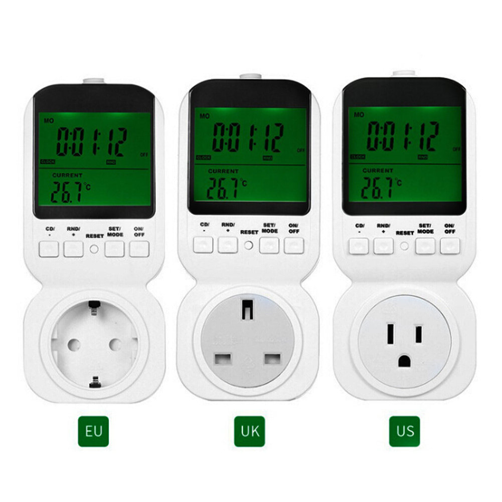 TS-4000 Multi-function LCD Thermostat Timer Switch Socket with Sensor Probe Green Backlight 3 Random Modes US EU UK Plug multi function green