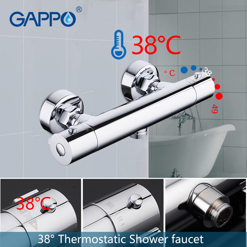 GAPPO bathroom shower faucet set thermostatic shower chrome bathroom mixer wall mounted thermostat shower mixer tap
