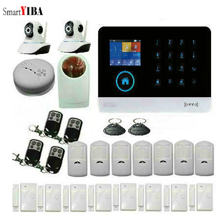 SmartYIBA WIFI/GSM//GPRS intranet alarm system APP /SMS/voice monitoring remote control RFID cards and wireless detector Alarm intranet as groupware