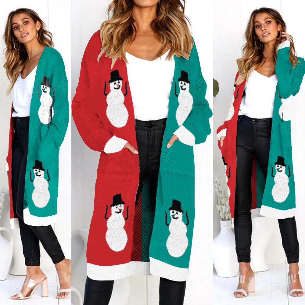 Mother Christmas Outfits Plus Size.1 Women Long Knitting Cardigan Harajuku Print Sweaters