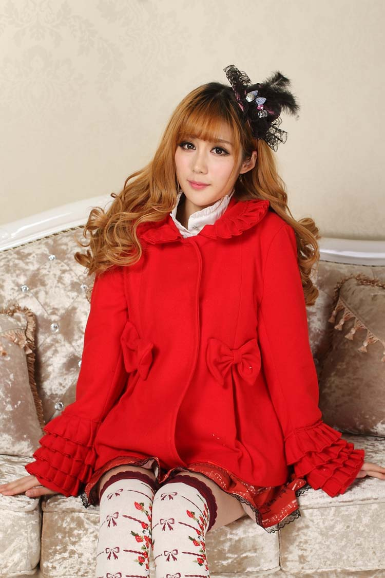 JSK Lolita Cute Lolita Pleated Bowknot Patterns Lovely Print Lolita JSK Red