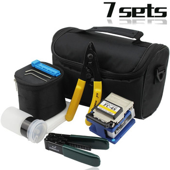 Juego de Herramientas de fibra óptica FTTH Splice Fibre Stripper + FC-6S Fiber Cleaver y Kit de bolsa de herramientas