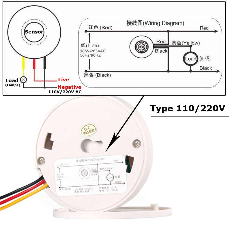 12 В светильник с датчиком движения, PIR датчик, 220 В, 110 В, детектор движения, Автоматический Инфракрасный светодиодный потолочный светильник с таймером