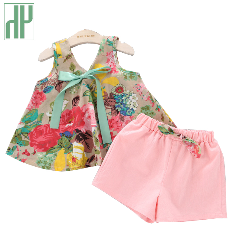Baby girl summer clothes Floral Rose Print off shoulder Vest + Shorts Pink boutique kids clothing girls outfit 2 4 6 7 years