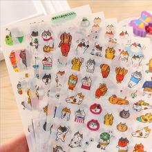 6sheets/pack Cats life PET DIY children sticker decoration Diary Transparent stickers office school supplies