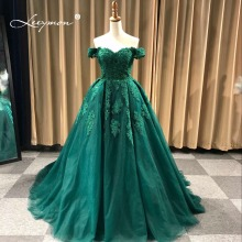 Real Samples Luxury Off The Shoulder Heavy Beaded Lace Ball Gown Evening dresses Prom Gowns vestidos de baile ballkleider