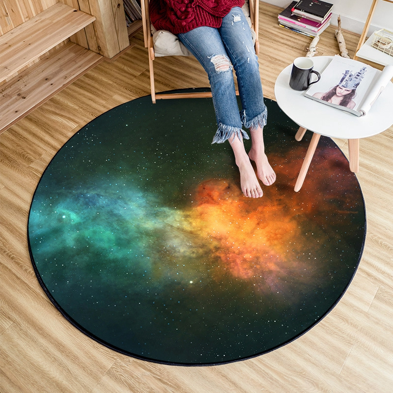 3D Starry Sky Printed Round Carpet Children Play Area Rugs Galaxy Bedroom Tapete Computer Chair Tea Table Home Decor Floor Mats