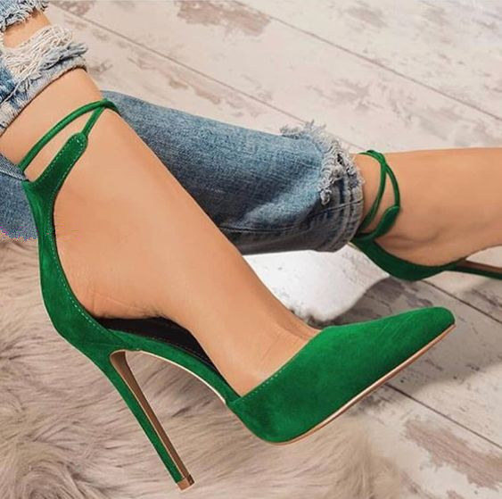 все цены на Sestito Hot Sale 2018 Ladies Elegant Green Suede Pointed Toe Ankle Strap Pumps Woman Lace-up Cover High Heels Dress Party Shoes