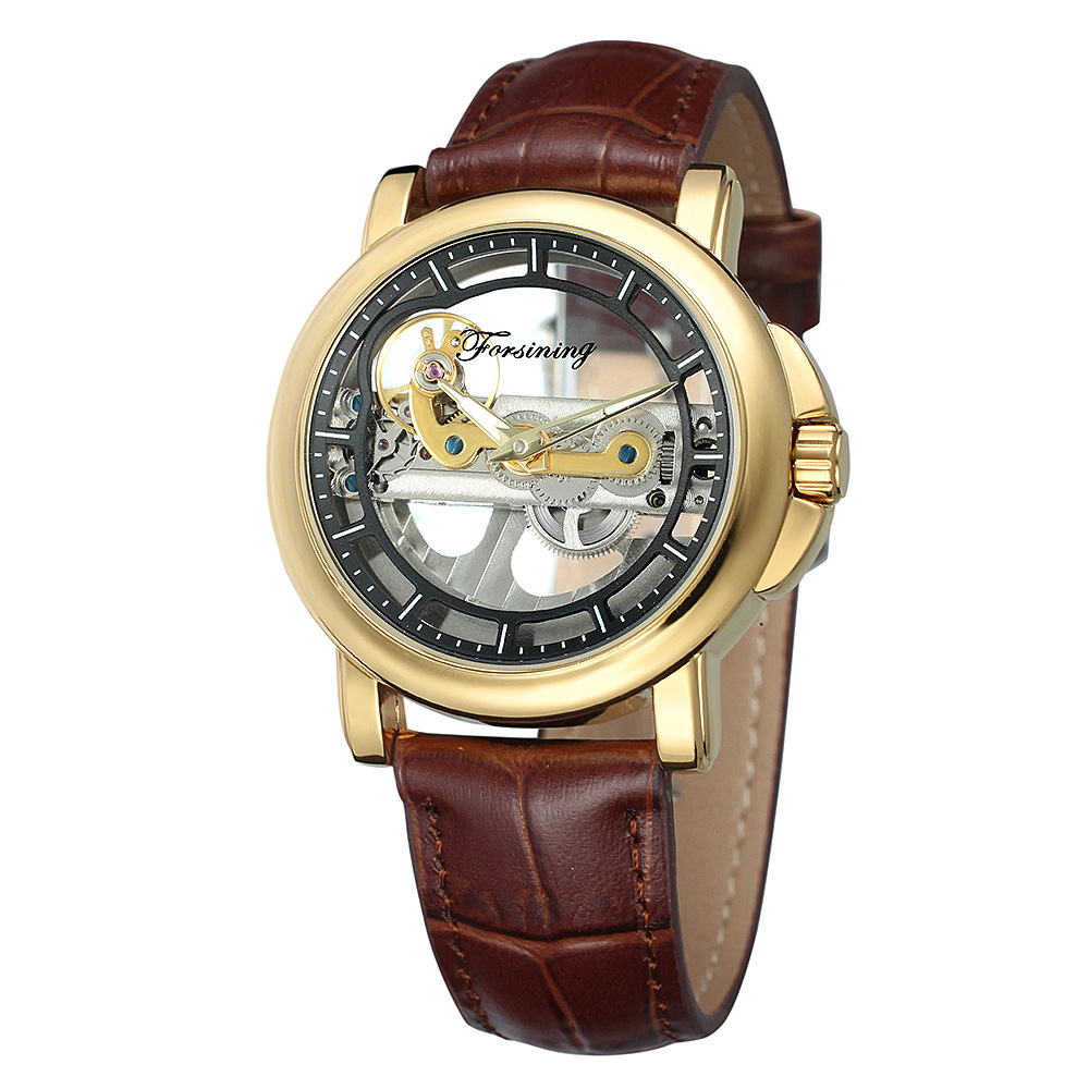 FORSINING Wristwaches Retro Men's Unique New Design See Through Automatic Movemet Mechanical Wrist Watch Cool Gift Box Free Ship купить недорого в Москве