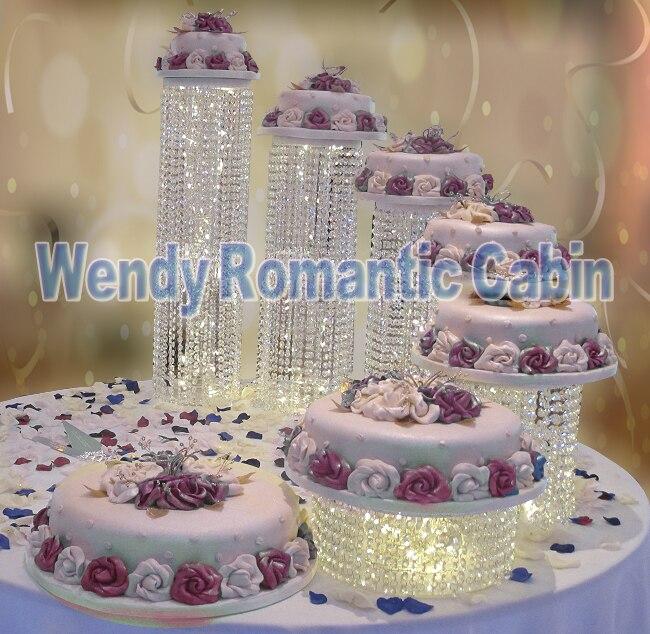 6 pièces/ensemble de mariage perles de cristal gâteau stand acrylique gâteau stand fête de mariage et événement gâteau accessoire décoration fournisseur gâteau outils
