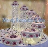 6 unids/set granos Cristalinos de la boda pastel de pie acrílico soporte de la torta de boda proveedor decoración de eventos & fiesta accesorio de la torta herramientas de la torta