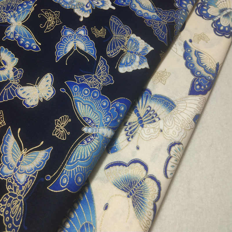 """Pretty Craft Dress 45/"""" Sky Blue Cotton Flower Butterfly Printed Fabric Material"""