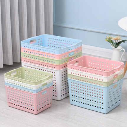Armazenamento do banheiro cesta de armazenamento de plástico caixa de lanche caixa de acabamento cesta de armazenamento retangular wash cesta cesta de armazenamento de desktop