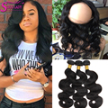 Brazilian 360 Lace Frontal Closure with Bundles Body Wave with Closure Brazilian Virgin Hair with Full Frontal Ms Lula Hair