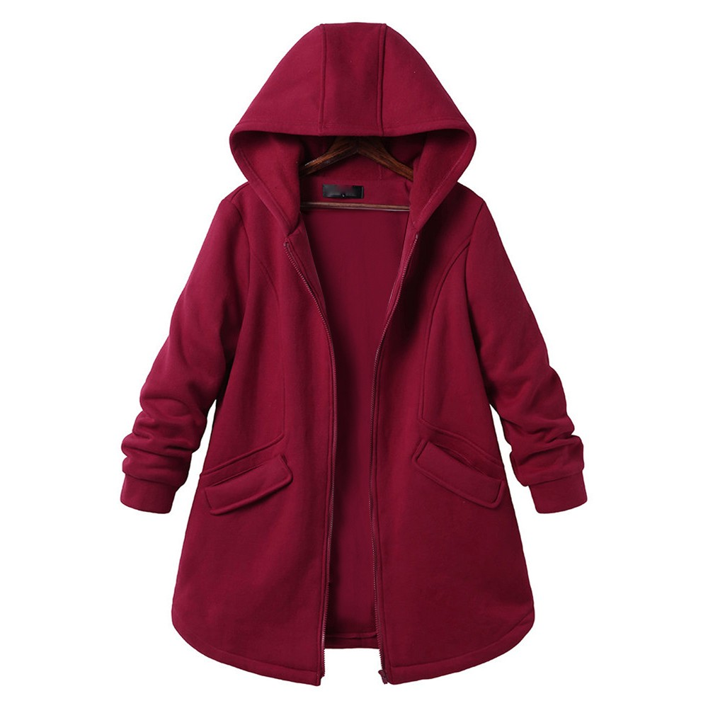 Women's Plus Size Long Sleeve Casual Pure Color Hooded Pockets   Coats   Outweat Overcoat Cardigan Womens Cotton Windbreakers