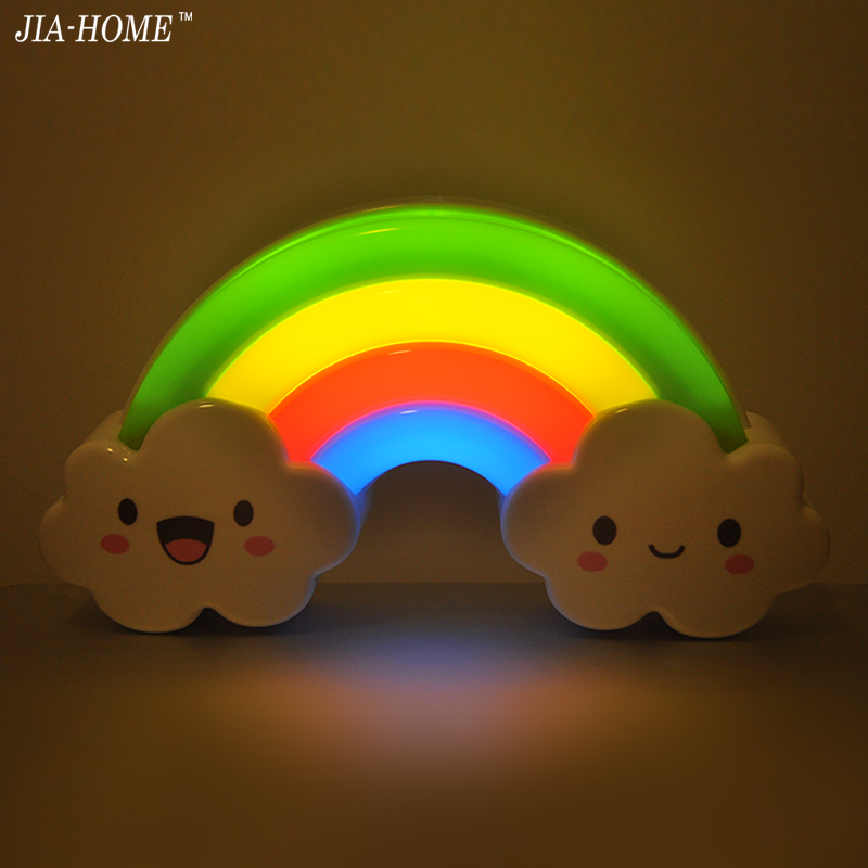 LED Rainbow Colorful Night Light bed room  Decorative Lights Baby Bedside Lamp Children Toy Batteries Powered 2016 winter jacket women down jackets hooded loose medium long down coat plus size down coats outerwear parka famous brand