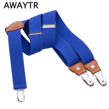 110cm Fashion 3 Clips Leather Suspender Men New Male Casual Suspenders Commercial Western-style Trousers Man's Braces Strap