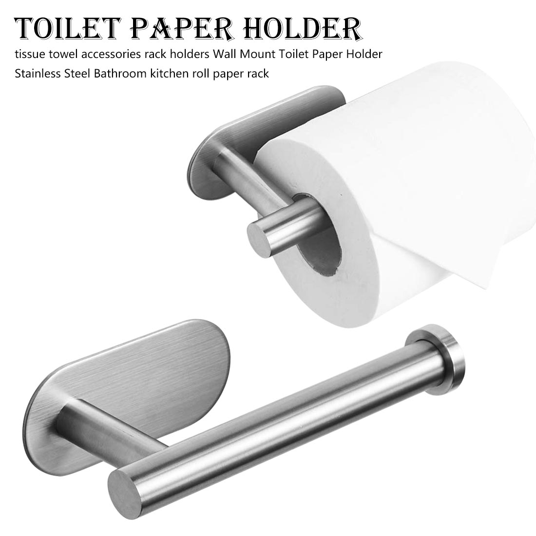 Wall Mount Toilet Paper Holder Stainless Steel Bathroom Kitchen Roll Paper Rack Tissue Towel Accessories Rack Holders