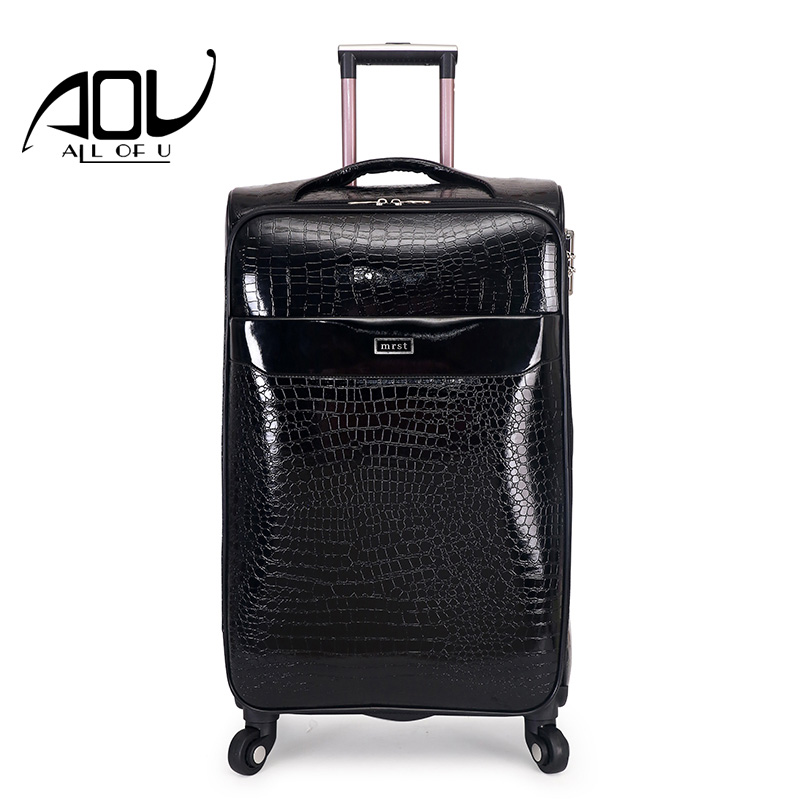 AOU 24 28 waterproof luggage luxury carry on travel suitcase PU leather Fashion Rolling luggage