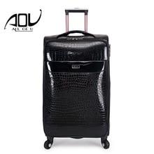 AOU 24 «/28» водонепроницаемая камера Роскошные вести дорожного чемодана Искусственная кожа Мода Роллинг багажа пароль чемодан WG-C1