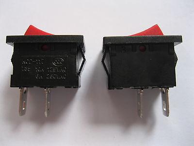 200 pcs Rocker Switch KCD1 ON/OFF Red Cap 2pin 6A 10A  21x15mm yellow led on off rocker switch w terminal protector set for electric appliances 2 pcs
