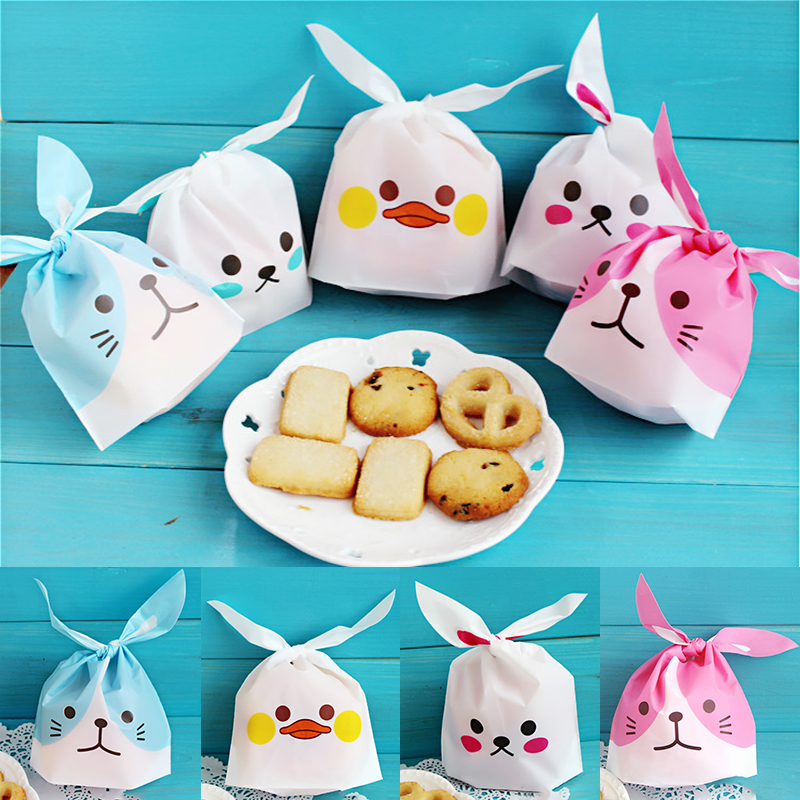 Snack For Candy Gift Bags Festival Supplies Wedding Favors Cookie Bags 10PCS/Lot Baking Package Rabbit Ear Biscuits Cute