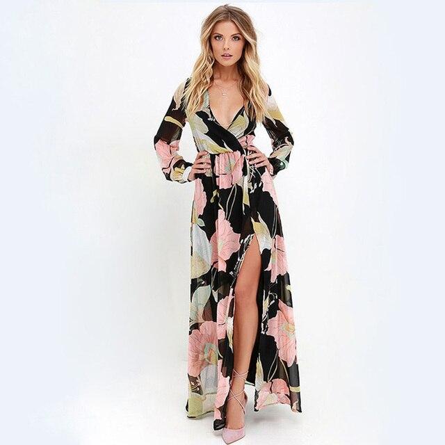 2017 Summer Beach Dress Women Floral Print V Neck Sexy Dress Elastic High Waist Loose Split Dresses Bohemia Dress