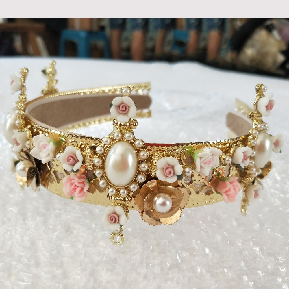 Aliexpress buy europe baroque royal headband crown vintage aliexpress buy europe baroque royal headband crown vintage metal flower cross wind flower tiara bridal accessories from reliable bridal accessories izmirmasajfo