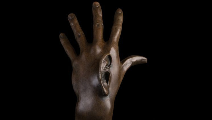Art Deco Sculpture Man's Hand One Ear Abstract Bronze Statue Signed