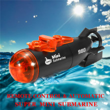 Mini Micro Radio Remote Control RC Submarine Ship Boat With LED Light Toy Gift Flashing Light Stable Black Red 2 Modes Automatic