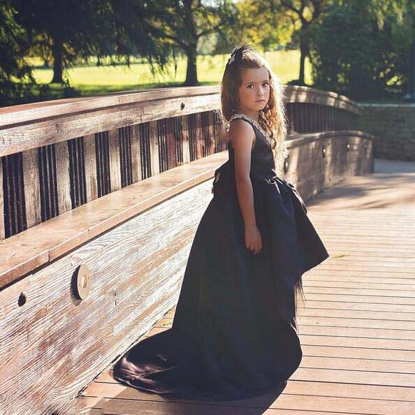 Glitter sequins girl Little black dress for Easter celebration toddler glitz pageant dress with long tail for evening prom party knotted plunge long prom dress with slit