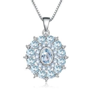 Image 5 - GEMS BALLET collar con colgante Vintage de Gema para mujer, de Plata de Ley 925, Topacio azul cielo Natural de 4,8 quilates, joyería fina de boda
