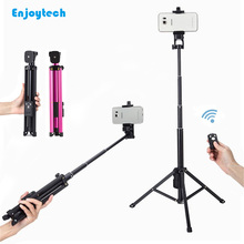New Arrival Bluetooth Selfie Stick with Tripod Portable Aluminum for IOS/Android DSLR Camers Shutter