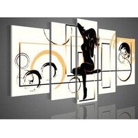 Pintado a mano cuadros en la pared amarillo débil moda baile belleza desnuda abstracta Pintura sobre tela 5 unids/set no arte enmarcado