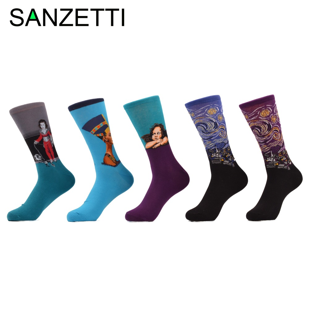 SANZETTI 5 pair/lot Mens Funny Socks Painting Starry sky Blue Queen of Egypt Nefertiti Combed Cotton Socks size 7.5-10 Gift